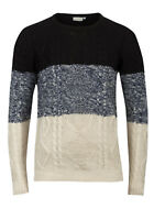 Ex UK Chainstore Mens Long Sleeve Crew Neck Sweater Jumper Pullover - Block