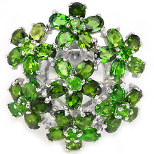 Sterling silver 925 Genuine Natural Chrome Diopside Cluster Ring Size N.5 (US 7)