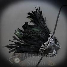 Mens Greek Roman Warrior Feathered Venetian Masquerade Ball Mask [Silver]