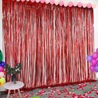 Foil Gold Metallic Fringe Tinsel Curtain Photo Backdrop Party Decor Door U9A5
