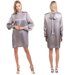 RRP €305 L'AUTRE CHOSE Shift Dress Size 44 / L Silk Blend Bow Made in Italy