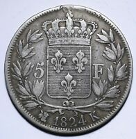 1824 K France Five 5 Francs - Louis XVIII bare head - Lot 340