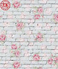 Blanca Flor Rosa de pared de ladrillo de telón de fondo de vinilo foto PRO 5X7FT 150X220CM