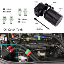 Universal Black Aluminum Baffled Car Oil Catch Can Tank Reservoir Filter Adapter