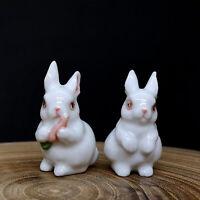 White Rabbit Figurines Handmade Ceramic Bunny Miniature Garden Decor Collectible
