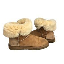 UGG Australia Bailey Button Boots Women's Tan Brown Fleece Lined UK Size: 5.5