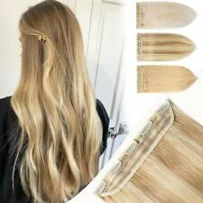 Thick One Piece Invisible Clip in Human Hair Extensions Highlight 3/4 Full Head