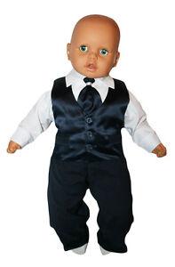 Taufanzug Baby Junge Kinder Hochzeit Anzüge Festanzug 4tlg Marineblau-Weiß K15