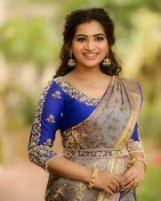 Indian bollywood ethnic Banarasi Silk saree blouse designer wedding party wear