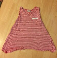 Girl's Red/White Striped Sleeveless T-Shirt Aged 11 Years