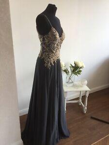 Jvn Jovani Charcoal And Gold Chiffion Gown,nwt,uk10, Stunning