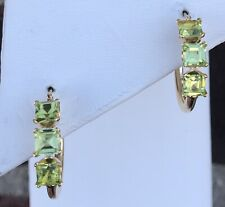 14K GOLD PERIDOT HOOP EARRINGS 1.8 GRAMS