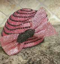 Red and Black Beaded Castello Church Hat by Ashro new