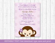 Purple Monkey Printable Baby Shower Invitation Editable PDF