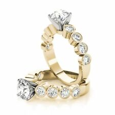 Diamond Engagement Ring 14k Yellow Gold Forever One Round Moissanite with Bezel
