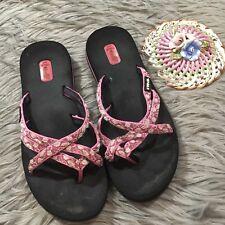 Women's 8 TEVA OLOWAHU Mush Artsy Pink Multi Strappy Textile Thong Sandals