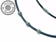 3mm BLACK LEATHER & TIBETAN SILVER NECKLACE CHOKER MAGNET STAINLESS STEEL CLASP