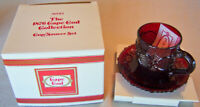 "1990 Vintage Avon 1876 Cape Cod ""CUP & SAUCER SET"" Ruby Red Glass - Brand NEW!"