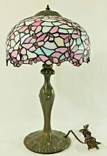 """Antique/Vtg 10"""" Tiffany Style PINK IRIDESCENT Stained Glass Desk Table Lamp"""