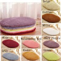 Bathroom Rug Contour Mat Toilet Lid Cover Plain Solid Color Bathmat Plush Carpet