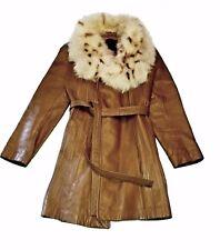 Genuine Leather & Fox Fur Women's sz 7/8 Trench Coat 24k Leather by Dan di Mode