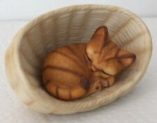 FINE COLLECTIBLE THIS RED TABBY CAT SLEEPING IN A BASKET # 134A 84 SIGNED JAPAN