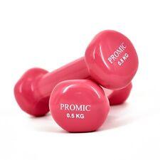 Promic 2x 0 5kg Vinyl Hanteln gewichte für Gymnastik Kurzhanteln Pink