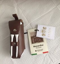 Moscardini Firenze Italy Genuine Leather 3 Golf Ball 2 Golf Tees Case Holder New