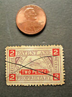 vTg 1908 Cape of Good Hope Patent & Proprietary Revenue stamp TWO pence Brit Col