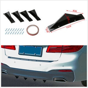 4pcs Triangle Mini Rear Spoiler Curved Surface Fit For Car Rear Bumper Lip Lower