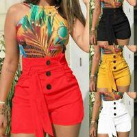 NEW Women Summer Pants High Waist Shorts Belt Tie Beach Short Trousers Hot Pants