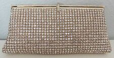 Crystal Beaded Modern Evening Clutch Handbag Purse - Gold - New!