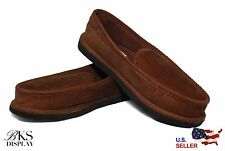 Mens Brown House Shoes Slippers Moccasin Slip-on Corduroy Comfort