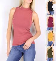 Women's Mock Turtle Neck Sleeveless Top Stretch Cotton Knit Solid Plain Basic