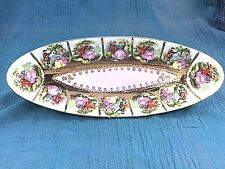 Vintage Hand Painted Gold Detailed Oval Serving Dish Pink Romance Couple