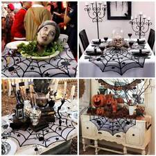 """40""""Spider Web Mantle Black Lace Round Tablecloth Halloween Spiderweb Table Cover"""