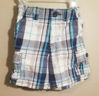 Healthtex Toddler Boys Plaid Cargo Shorts Adjustable Waist Size 3T Blue & White