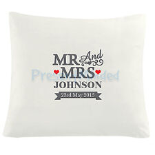 Personalised MR & MRS Cushion COVER 100% Cotton Anniversary Wedding Hearts Gift
