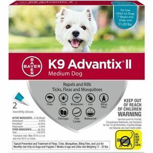 K9 Advantix II for Dogs 11-20 lbs Repels & Kills Fleas, Ticks & Mosquitos 2pack