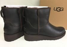 UGG Australia KRISTIN Leather CLASSIC SLIM Stout Brown WEDGE ANKLE BOOTS 1019640