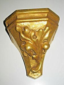 Holz geschnitzt, Wand - Konsole, 17 x 15  x 17cm, für Holzfigur, golden, TOP 540