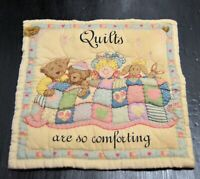 """Quilters Natural Canvas Tote Bag W/ BLOCK """"QUILTS ARE SO COMFORTING"""""""