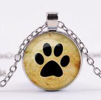 Halskette Kette mit Anhänger silber Pfote Pfötchen Hundepfote Hund Katze