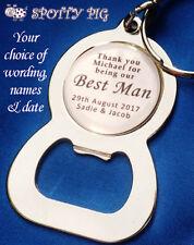 Personalised Wedding Bottle Opener Keyring, Gift Best Man, Usher, Ring Bearer et