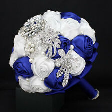 Royal Blue White Bridal Bouquets Bride Wedding Flowers Roses Crystal Pearls
