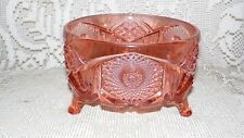 VINTAGE ANCHOR HOCKING PINK DEPRESSION GLASS FOOTED CANDY CENTERPIECE BOWL FANCY