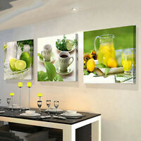 3PCS MODERN FRUITS LEMON CANVAS PAINTING PICTURES KITCHEN LIVING ROOM DECOR FADD