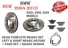 Rear Brake Disc Rotors + Ceramic Brake Pads + Sensor Set For BMW 525i 528i 530i
