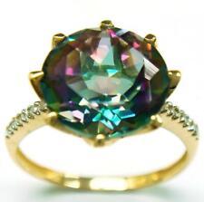 SYJEWELLERY 9CT YELLOW GOLD ROUND 10MM MYSTIC TOPAZ & DIAMOND RING SIZE N R714