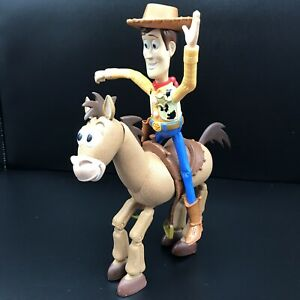 """Disney Pixar Toy Story Woody and Bullseye Galloping 7"""" Action Figures 1996"""